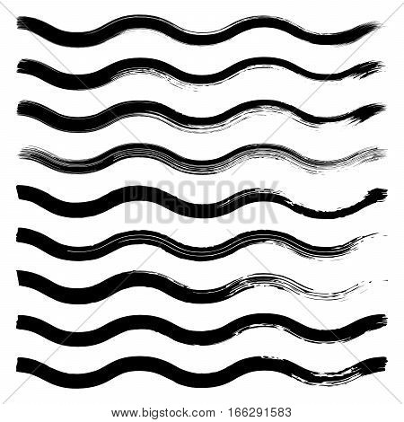 Set of black hand drawn wave lines on white background vector illustration. Hand drawn brush stroke