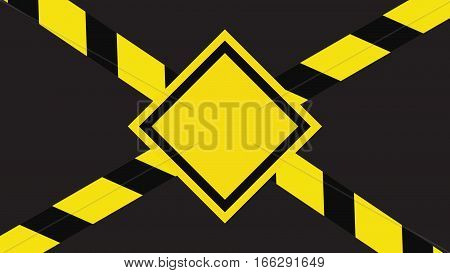 Computer graphic danger sign. Yellow and black colors