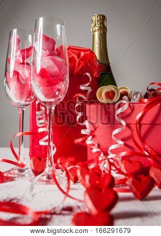 Gifts champagne and romance for someone special on Valentine's Day.