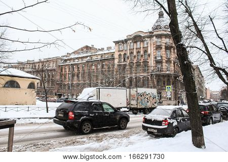 St. Petersburg, Russia - 2 December, The architecture of the Petrograd side of St. Petersburg, 2 December, 2016. Winter day in St. Petersburg.