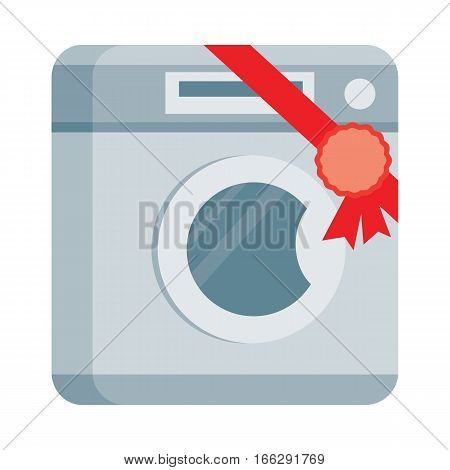 Washing machine icon with label on ribbon. Home appliance for wash flat vector illustration isolated on white background. Best choice, best price, bestseller sign. For store sale and discount promo