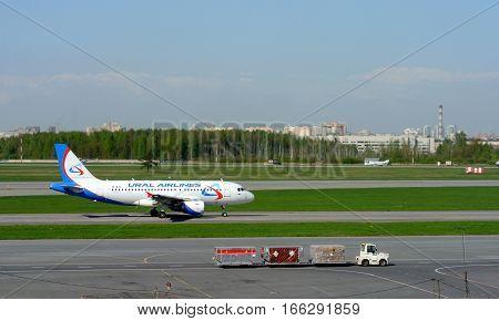 SAINT-PETERSBURG, RUSSIA - MAY 10, 2016: Airport