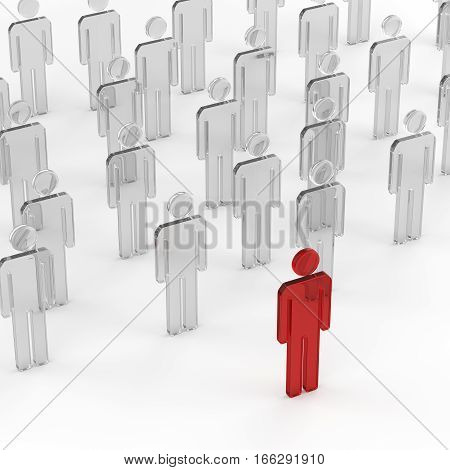 Business concept red leader man leading whites. 3D rendering.