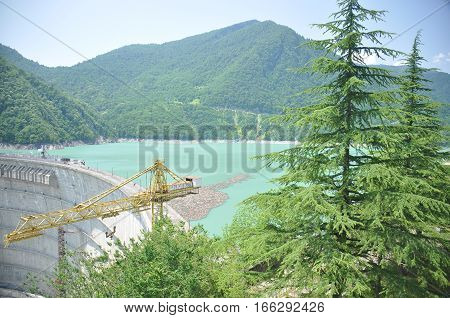 Dam on the Inguri River in Georgia. Dam reservoir