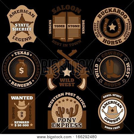 Vintage wild west badges on black background vector illustration