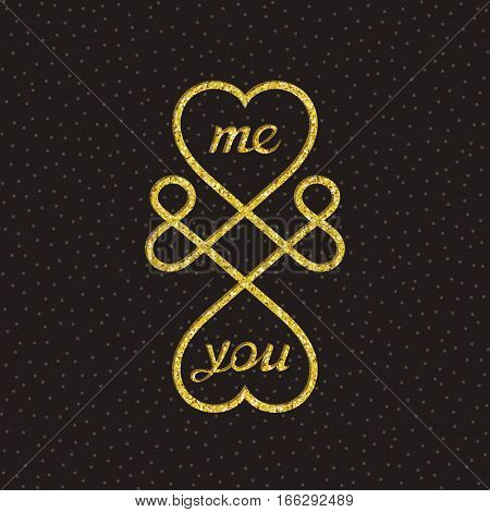 Creative love symbol. Me and you. Vector sign design
