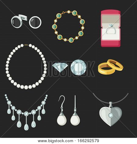 Jewelry icons set in flat style. Vector illustration of accessories rings, necklace earrings...