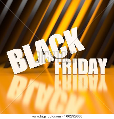 Black friday word on abstract background. 3D rendering.