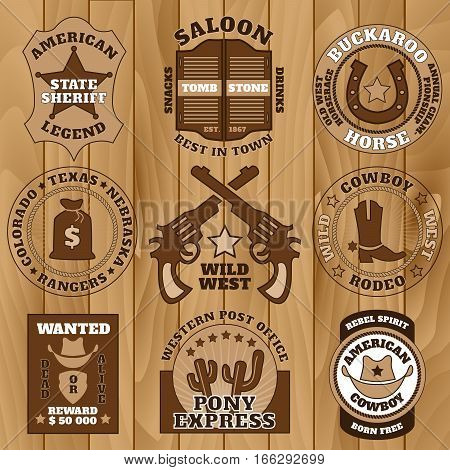 Vintage wild west badges on wooden background vector illustration