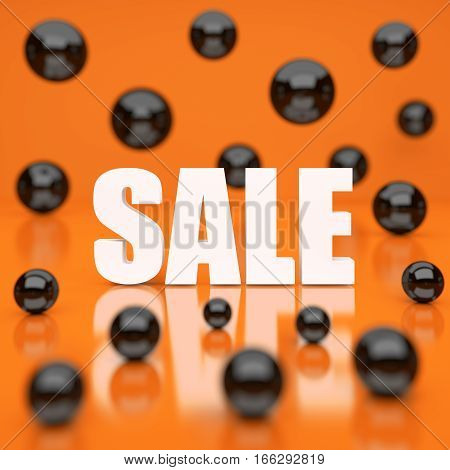 White sale word on orange background. 3D rendering.