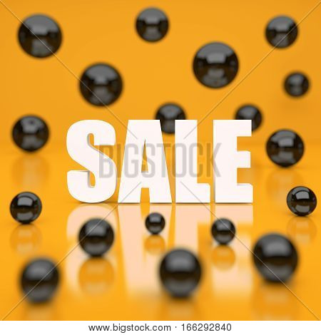 White sale word on yellow background. 3D rendering.