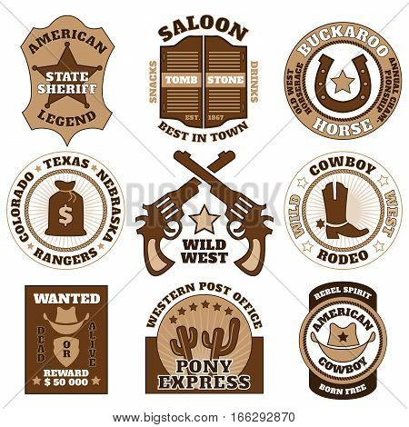 Vintage wild west badges on white background vector illustration