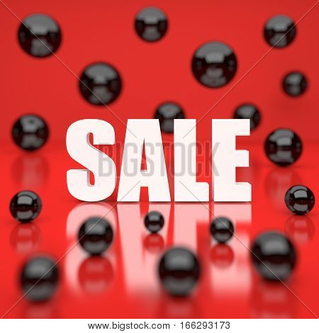 White sale word on red background. 3D rendering.