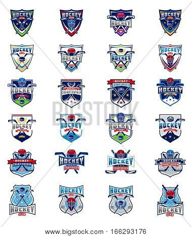 Vector set of color hockey badges, stickers, emblems isolated on white