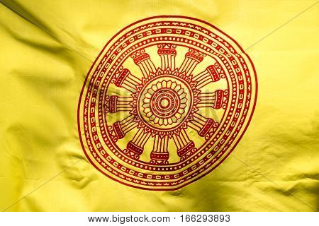 Wheel of life or Dharmachakra Wheel of Dhamma flag