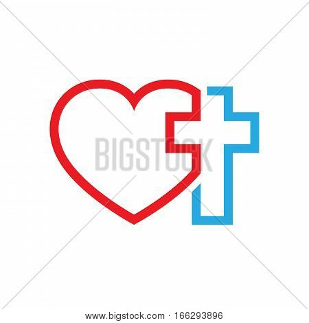 Christian cross and silhouette of heart. Symbol of christian love isolated on white background. Vector illustration. Christian symbol.