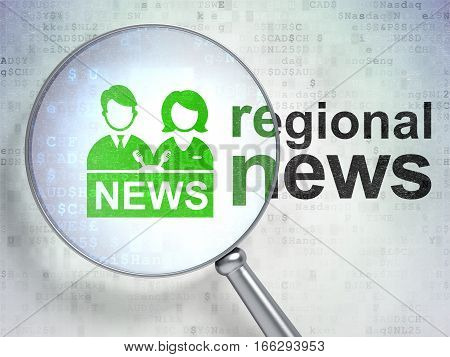 News concept: magnifying optical glass with Anchorman icon and Regional News word on digital background, 3D rendering