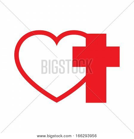 Christian cross and silhouette of heart. Red symbol of christian love isolated on white background. Vector illustration. Christian symbol.