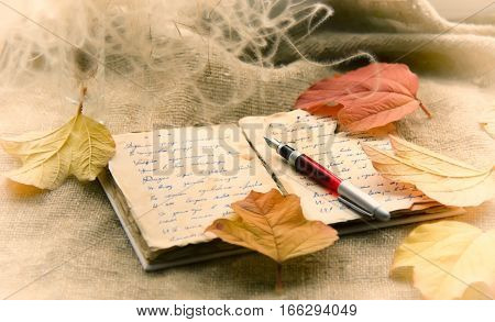 Old notebook and fountain pen on the autumn leaves