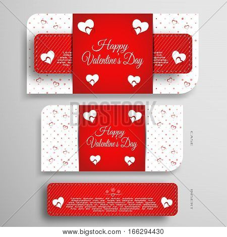 Vector set of greeting card for Valentine's Day with insert and red pattern on the gray gradient background.