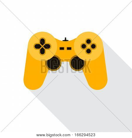 Yellow joystick icon. Vector illustration. Video game symbol. Flat game joystick symbol with long shadow isolated on white.