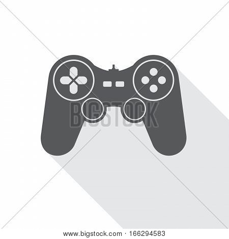 Gray joystick icon. Vector illustration. Video game symbol. Flat game joystick symbol with long shadow isolated on white.
