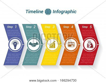 Template Timeline Infographic from colour arrows numbered for 5 position can be used for workflow banner diagram web design area chart