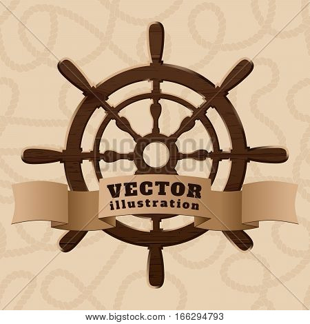 Brown wooden realistic helm with ribbon on curled rope background vector illustration
