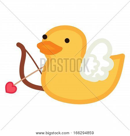 Funny yellow duck - cupid with bow and arrow