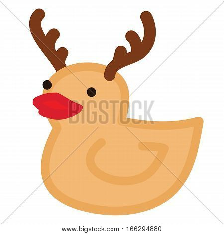 Funny yellow duck raindeer with red nose and horns Christmas character