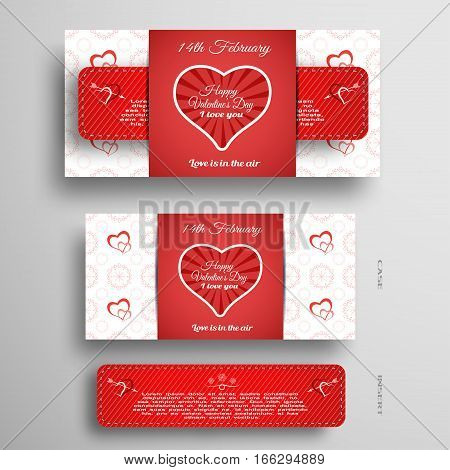 Vector set of greeting card for Valentine's Day with insert stripe and red pattern on the gray gradient background.