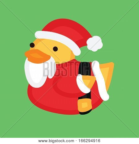Funny yellow duck santa with beard in red hat