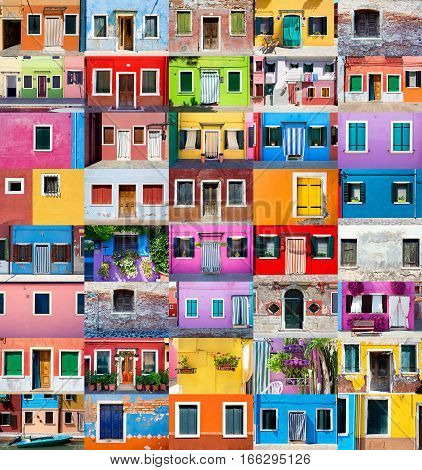 Picturesque Windows With Shutters On The Famous Island Burano, Venice, Italy