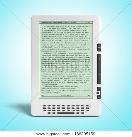 E-book Reader 3D Render Image On Gradient