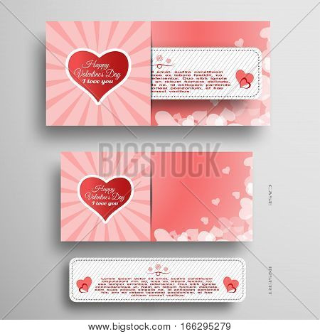 Vector set of light red greeting card for Valentine's Day with insert paper stripe on the gray gradient background.