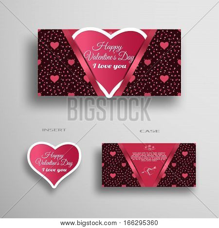 Vector set of greeting paper heart for Valentine's Day insert in case with dark pattern from hearts and dots on the gray background.