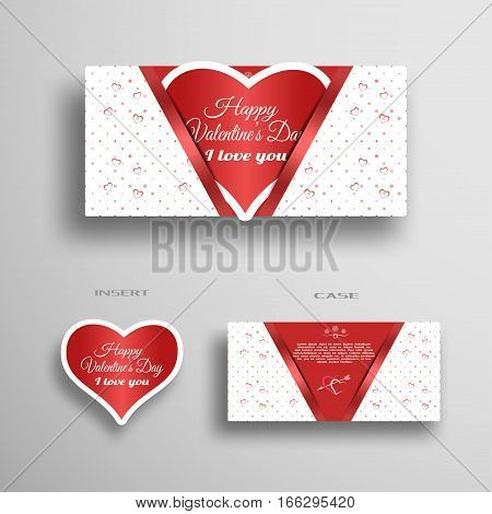 Vector set of greeting paper heart for Valentine's Day insert in case with light red pattern from hearts and dots on the gray background.