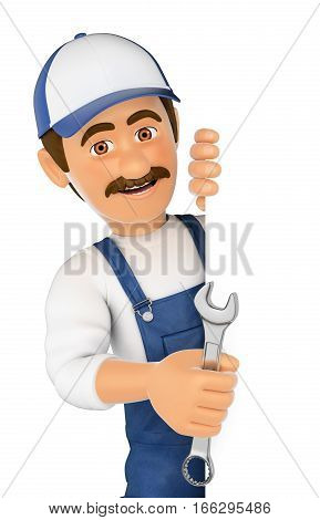 3d working people illustration. Mechanic pointing aside. Blank space. Isolated white background.