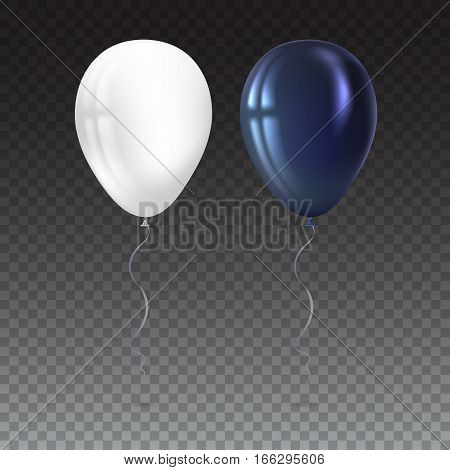 Inflatable air flying balloons isolated on transparent. Close-up look at black and white balloons with reflects. Realistic 3D vector illustration