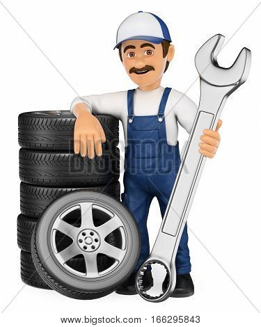 3d working people illustration. Mechanic with a stack of tyres and a huge wrench. Isolated white background.