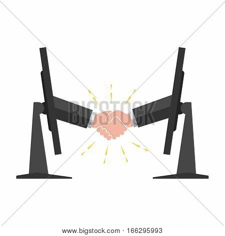 Hand sticking out from a monitor to handshake. Business handshake. Concept of wireless communication or online business. Vector illustration.