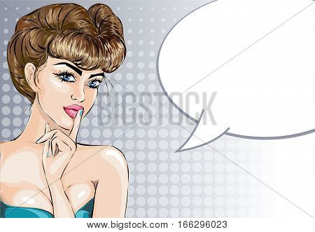 Pin Up Sexy Woman Portrait With Finger On Her Lips. Pop Art Silence Gesture Girl Vector Illustration