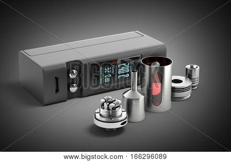 Electronic Cigaretts Device Box Mod To Smokeless Smoking 3D Render On Black Gradient
