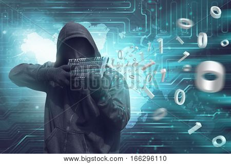 Man Wearing Vendetta Mask Holding Keyboard To Shooting