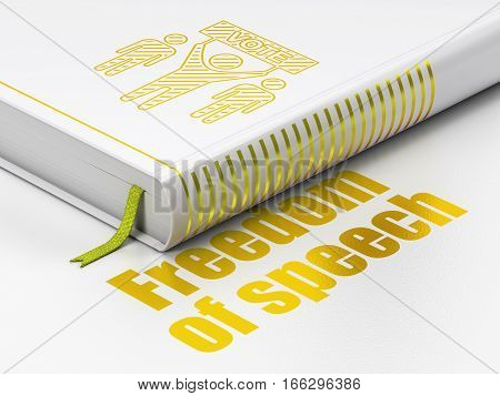 Political concept: closed book with Gold Election Campaign icon and text Freedom Of Speech on floor, white background, 3D rendering