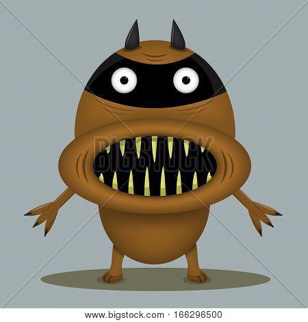 Angry horror monster for animation and comics with yellow teeth. Humor comic animal