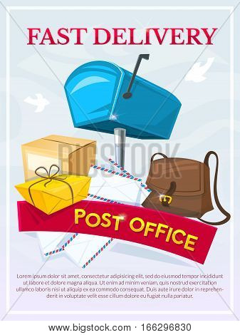 Post office concept design, vector illustration with mailbox, letters, bag of postman and package, fast delivery poster