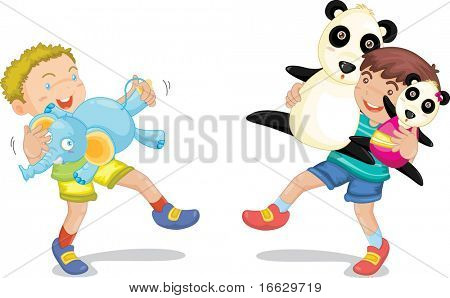 Illustration of  a boy with animal toys on white - vector EPS of this image also available in my portfolio