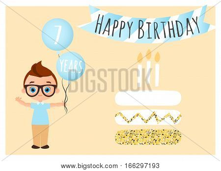 Happy Birthday Postcard With Cake. Happy Birthday Background For Poster, Banner, Card, Invitation, F