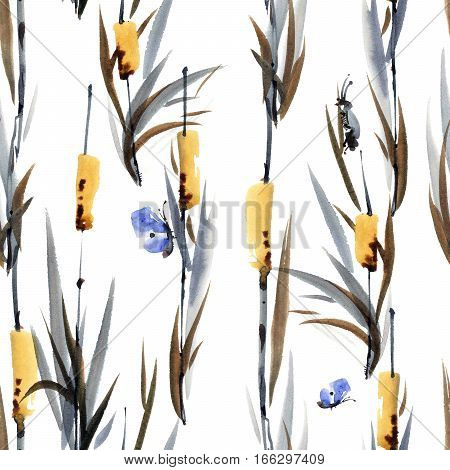 Watercolor and ink illustration of grass with cicadas and butterflies. Sumi-e u-sin painting. Oriental traditional style. Seamless pattern.